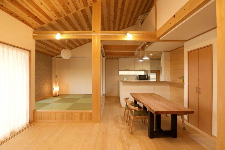 小屋裏に物置スペース・ホール・半個室のある「木の平家」